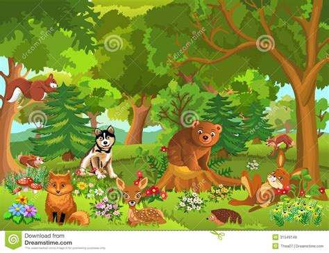 Cute Animals In The Forest Stock Vector. Illustration Of