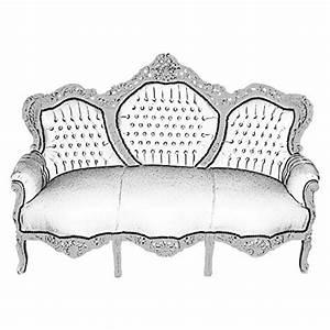 Barock Sofa Weiß : retro barock sofa kunstleder 3 sitzer weiss silber vintage couch vintage brothers ~ Frokenaadalensverden.com Haus und Dekorationen