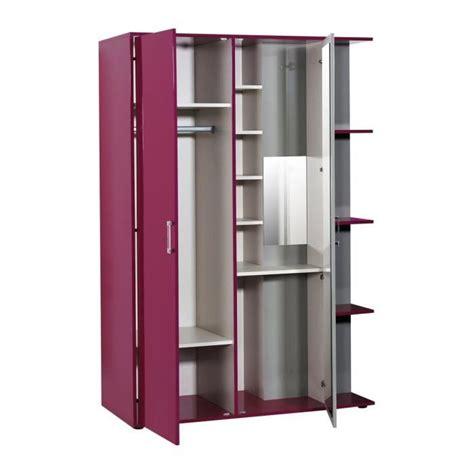 chambre discount strype armoire de chambre enfant 135 cm fuchsia et gris