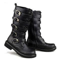 Womens Muro Cyberpunk Platform Boots Vintage Black Patent
