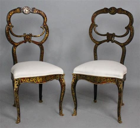 pair of louis philippe quot boulle quot inlaid ebonized chaises