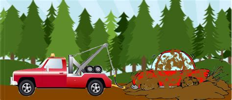 Red Car Getting Towed Out Of The Mud By Megareyes On