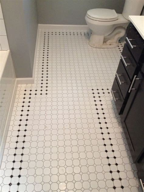 retro inspired octagon and dot bathroom floor tile work