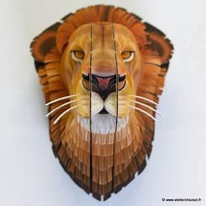Trophée Animaux Carton : nouveau les troph es d 39 animaux en carton imprim s atelierchezsoi ~ Melissatoandfro.com Idées de Décoration