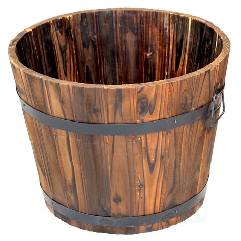 home depot whiskey barrel planters vintiquewise 14 in h x 17 5 in dia large wooden