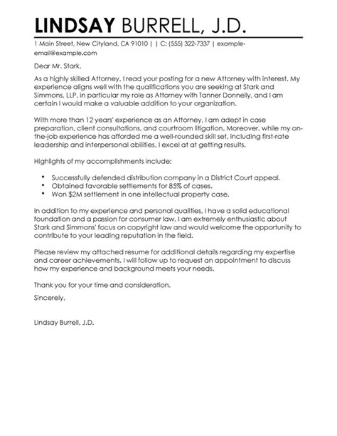 attorney cover letter examples livecareer