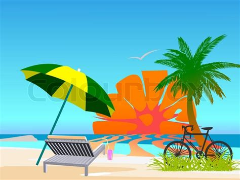 Summer Beach Scene  Vector  Stock Vector Colourbox