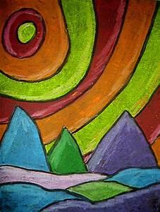 Landscape in Oil Pastel   KIDS & GLITTER
