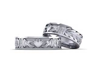 claddagh wedding ring set claddagh ring his and hers wedding rings set gold 14k