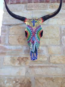 hand painted cow skull trying to be martha stewart