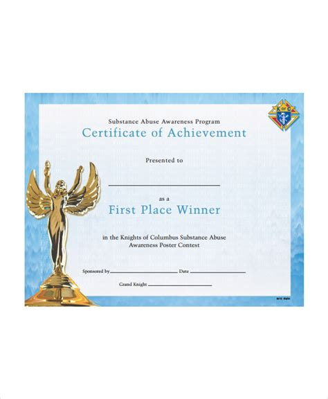 Winner Certificate Template Certificate Of Achievement Place Winner Awesome