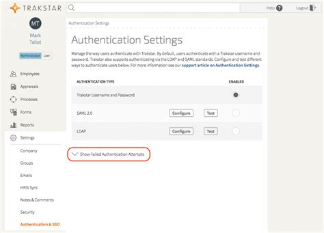 setting  saml authentication trakstar