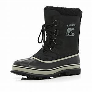 River Island Black Sorel Caribou Waterproof Boots in Black ...