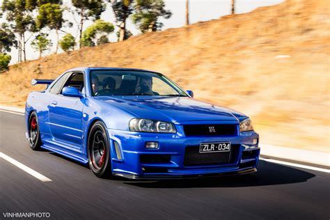 Custom Wallpaper Nissan Gtr R34 by Nissan Skyline Gt R R34 Blue Color Black Wheels