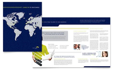 Free Indesign Templates Technology Company Brochures Global Communications Company Brochure Template Design