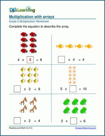 multiplication  arrays worksheets  learning
