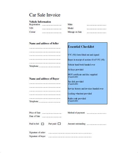 car invoice template   word excel  format