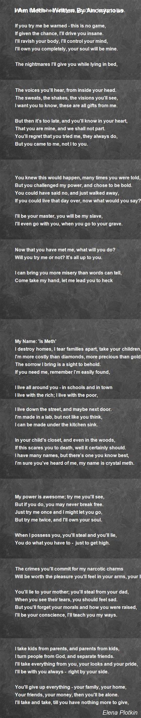 meth written  anonymous poem  elena plotkin