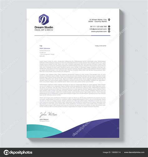 professional letterhead template vector stock