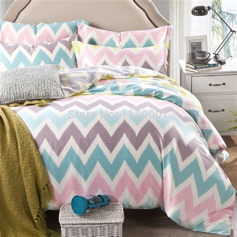 Pink And White Duvet Set by Pink White Blue Chevron Zigzag Duvet Cover Set 4 Pieces