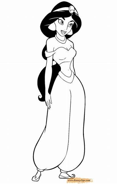 Jasmine Princess Disney Coloring Pages Aladdin Disneyclips