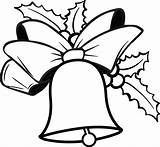 Christmas Bells Coloring Bell Printable Holly sketch template