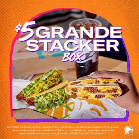 Check spelling or type a new query. Taco Bell - $5 Grande Stacker Box - National