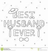 Husband Ever Text Coloring Vector Drawn Tie Hat Hand Illustration sketch template