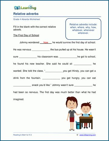 grade 4 adjectives and adverbs worksheets k5 learning