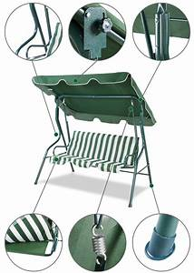 Garden Swing Bench Chair For 3 Person
