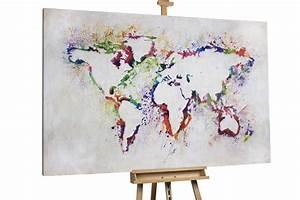 Weltkarte Bild Holz : xxl gem lde mit weltkarte in wei kaufen kunstloft ~ Lateststills.com Haus und Dekorationen