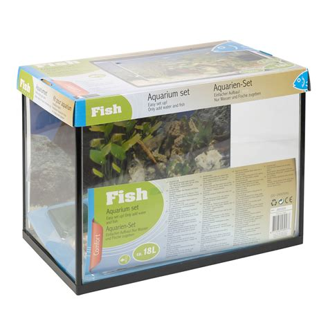 easy aquarium products 18 litre glass aquarium fish tank starter kit set filter net plant stones ebay