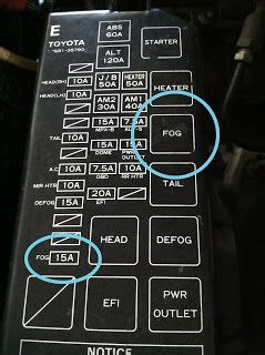 fuse relay wire wiring location  factory fog lights