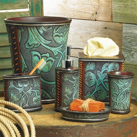 Floral Tooled Turquoise Bath Accessories