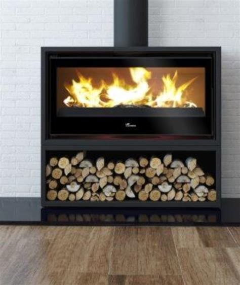 lacunza free standing fireplace 1000 with wood storage