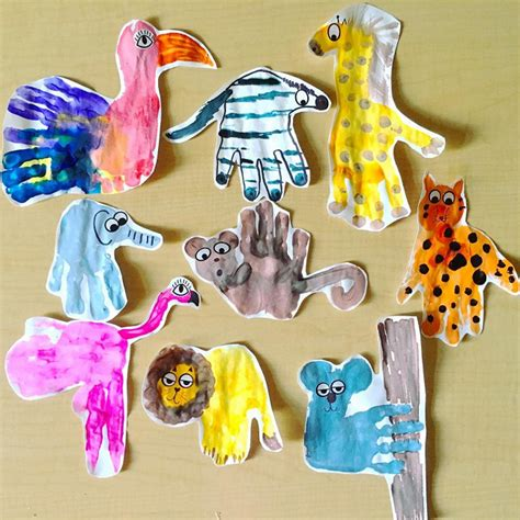 zoo animal handprint crafts for crafty morning 159 | wild animal handprint crafts for kids
