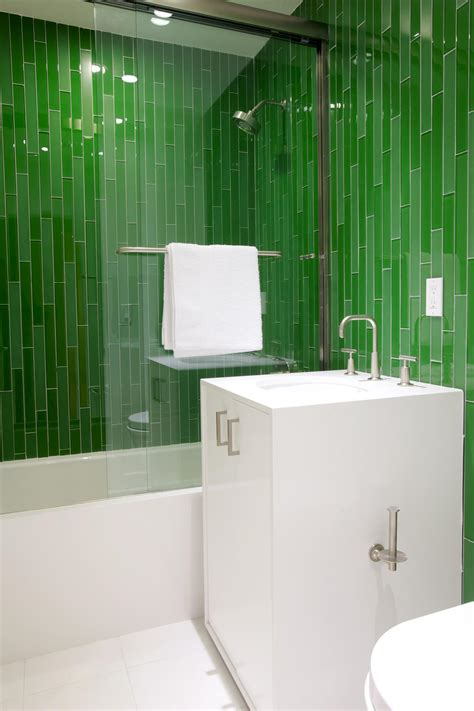 green bathroom tile ideas photos hgtv modern bathroom with vibrant green tiles