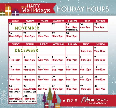 holiday hours  merle hay mall merle hay mall