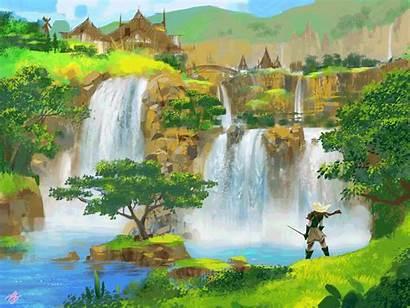 Waterfalls Artstation Animated Painting