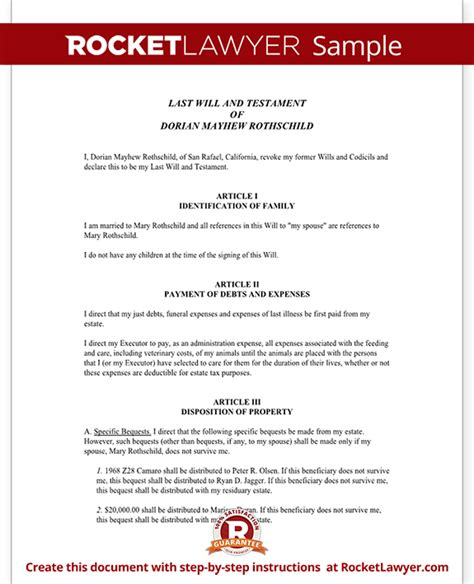 simple will template free simple will last will and testament form with sle