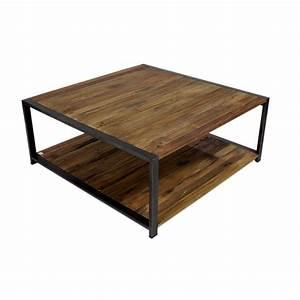 Table Basse Industrielle Carrée : grande table de salon industrielle en m tal et bois recycl ~ Teatrodelosmanantiales.com Idées de Décoration
