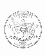 Tennessee Coloring Pages Quarter State Vols Tn Usa Printables States Quarters Printable Books Flag Symbols Facts Template Road Kindergarten Getcolorings sketch template