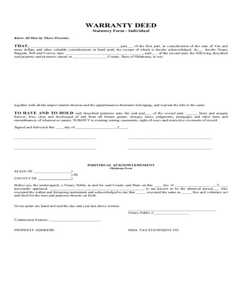 warranty deed statutory form oklahoma edit fill sign