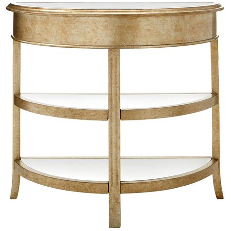 gold console table home decorators collection bevel mirror gold demilune