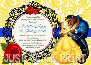 Beauty and the beast bridal shower or birthday invitation for Beauty and the beast wedding invitation template free