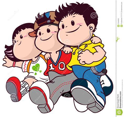 cartoon group  friends boys  girls stock illustration