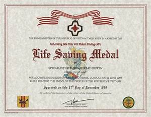 republic of vietnam life saving medal certificate With life saving award certificate template