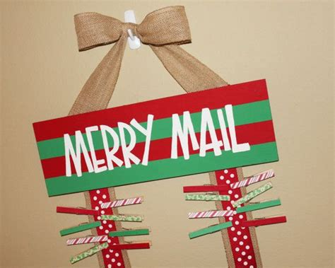 merry mail christmas card holder display burlap ribbons wooden painted cute sign