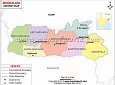 Meghalaya Map, Districts in Meghalaya
