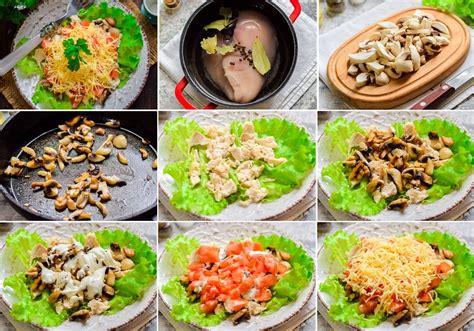 Salāti ar vistas gaļu, sieru, tomātiem un ceptiem ...